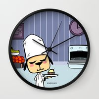 baking Wall Clocks featuring Baking in the Kitchen by Evacomics