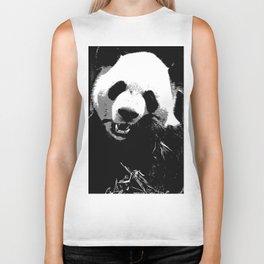 Cute Giant Panda Bear with tasty Bamboo Leaves Biker Tank
