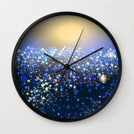 Vector golden and silver glitter particles background effect for luxury greeting card. Star dust sparks in explosion on blue Wall Clock
