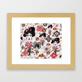 Geisha in the Rainy Garden Framed Art Print