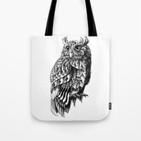 bioworkz Tote Bags featuring Owl 2.0 by BIOWORKZ
