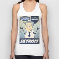 detroit Tank Tops featuring Detroit by Sophie Broyd