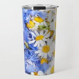 Blue cornflower and white chamomile Travel Mug