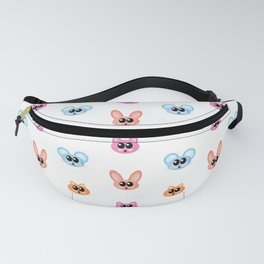 Cute Rabbit, Mouse and Cat Cartoon Icon Pattern Fanny Pack