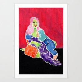Tandem Nursing Mom Art Print