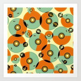 Turntables (Red) Art Print