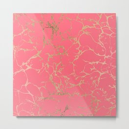 Elegant coral gold faux foil marble pattern Metal Print