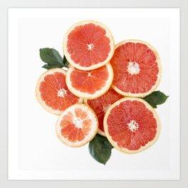 Grapefruit & Roses 01 Art Print