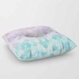 Cute Mermaid Pattern, Light Pink, Purple, Teal Floor Pillow