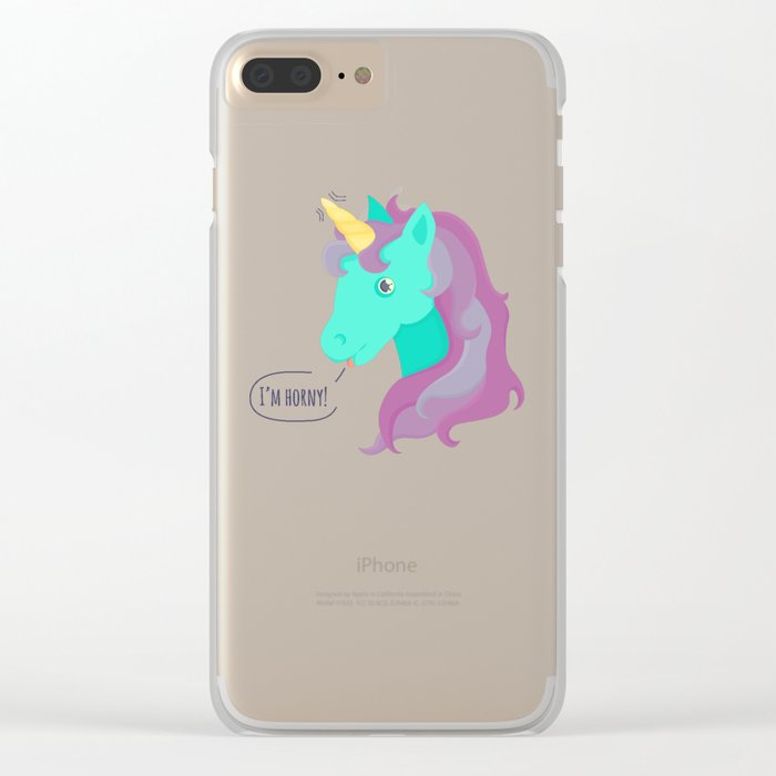 Hornycorn Clear iPhone Case