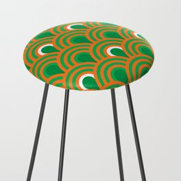 retro sixties inspired fan pattern in green and orange Counter Stool