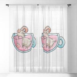 Kawaii Cute Goat-Tea Pun Sheer Curtain