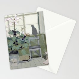 Indoor Garden With Fig Tree Stationery Cards
