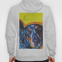Fun BLUETICK COONHOUND Dog bright colorful Pop Art painting by Lea Hoody