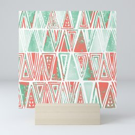 Modern Coral Pink Mint Green Tribal Triangles Mini Art Print