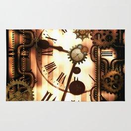 Steampunk, clocks and gears, vintage design Rug