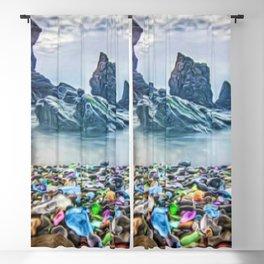MacKerricher Bottle Sea Glass Beach, California Portrait Blackout Curtain