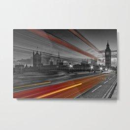 LONDON Westminster Bridge & Red Bus Metal Print