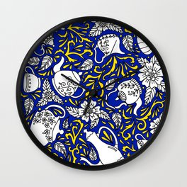 Tea Time Blue and Yellow Wall Clock