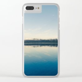 A blue  winter lake Clear iPhone Case
