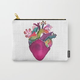 Watercolor magenta bloom heart Carry-All Pouch