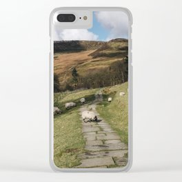 Stone footpath and grazing sheep. Edale, Derbyshire, UK. Clear iPhone Case
