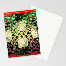 RED ORNATE WHITE ROSE TAPESTRY ART Stationery Cards