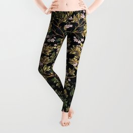 William Morris Northern Garden with Daffodils, Dogwood, & Calla Lily Floral Textile Print Leggings