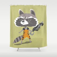 rocket raccoon Shower Curtains featuring Rocket Raccoon by Rod Perich