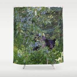 Mother bear hides in the trees- Canadian Rocky Mountains Shower Curtain