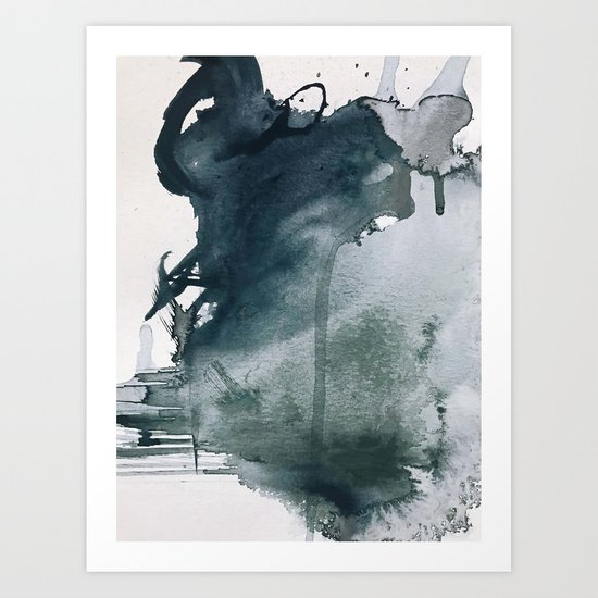 Lakeside: a minimal, abstract, watercolor and ink piece in shades of blue and green by blushingbrushstudio