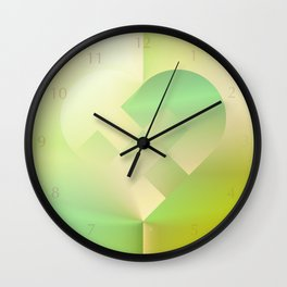 Danish Heart Mint Gold Wall Clock