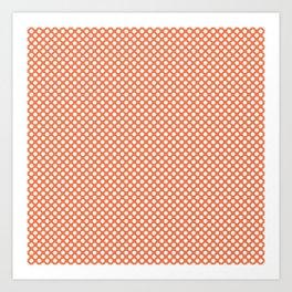 Coral Rose and White Polka Dots Art Print