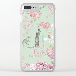 Vintage green pink floral collage typography Clear iPhone Case