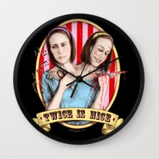Tattler Twins (color) Wall Clock