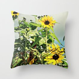 My Mother's Sunflowers Throw Pillow