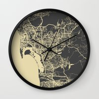 san diego Wall Clocks featuring San Diego Map by Map Map Maps