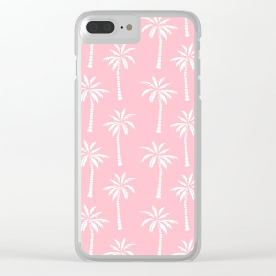 Palm trees pink tropical minimal ocean seaside socal beach life pattern print Clear iPhone Case