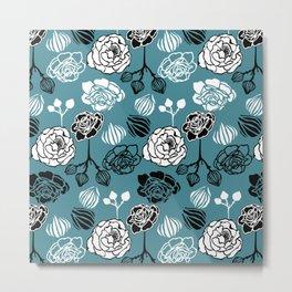 BW Gardenia on Blue Metal Print