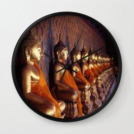 Ancient buddha satues. Wat Arun temple. Bangkok. Thailand. Wall Clock