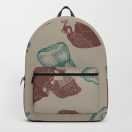 Skull and Teeth Pattern // Anatomy // Human Bones // Red and Blue Punk Rock Pattern Backpack