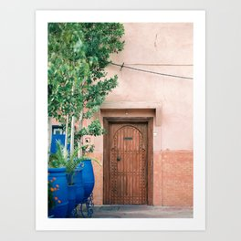 """Marrakech Travel Photography """"Wooden door on coral wall   Colorful wanderlust photo print Art Print"""