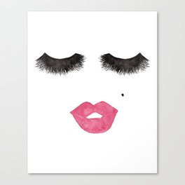 Glam Lips and Lashes Watercolor Canvas Print