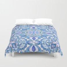 Cornflower Blue, Lilac & White Floral Pattern Duvet Cover