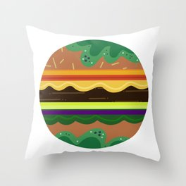 Burger Time Green Throw Pillow