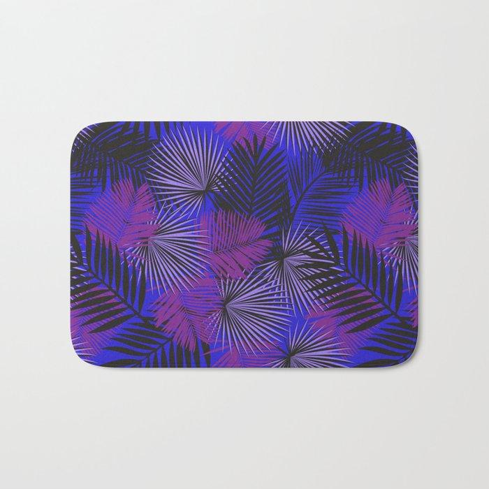 Tropical Black Purple & Blue Bath Mat
