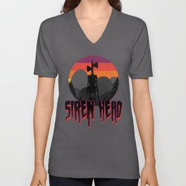 Scary Siren Head vintage sunset meme  Unisex V-Neck