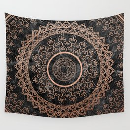 Mandala - rose gold and black marble Wall Tapestry