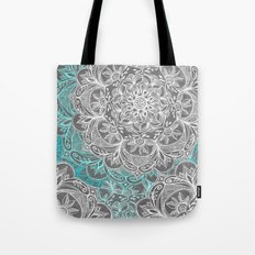 Turquoise & White Mandalas on Grey Tote Bag