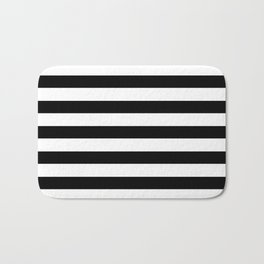 Midnight Black and White Stripes Bath Mat